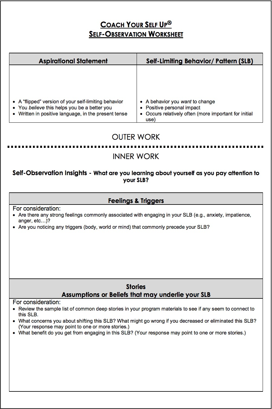 Self Observation Worksheet A Tool For Your Personal Growth Toolkit